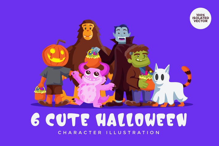Thumbnail for 6 Halloween Monster Vector Character Set 1
