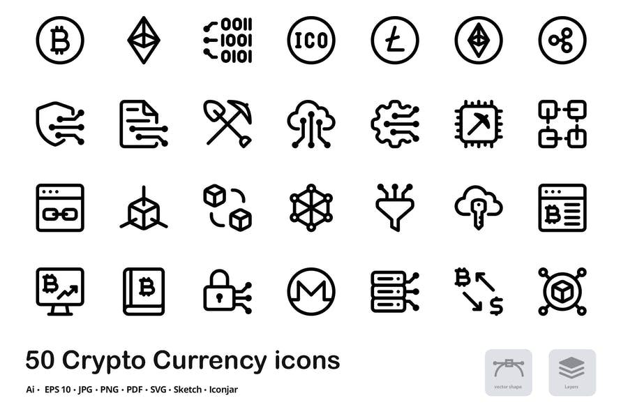Crypto Currency Vector Inter Line Icons
