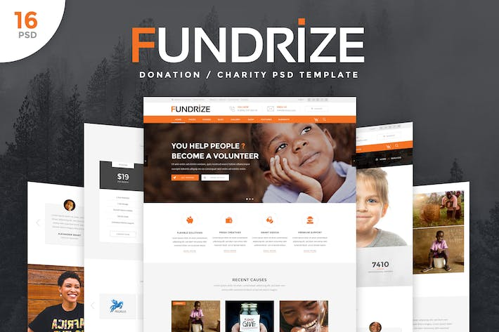 Thumbnail for Fundrize - Donation / Charity PSD Template