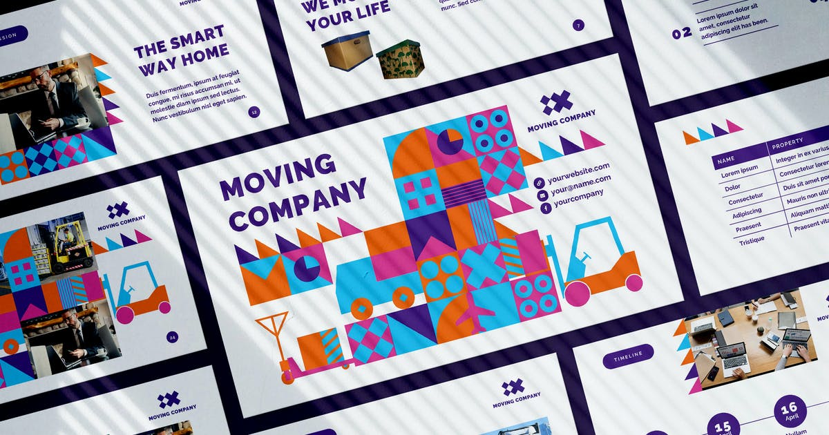 Download Moving Company PowerPoint Presentation Template by ambergraphics