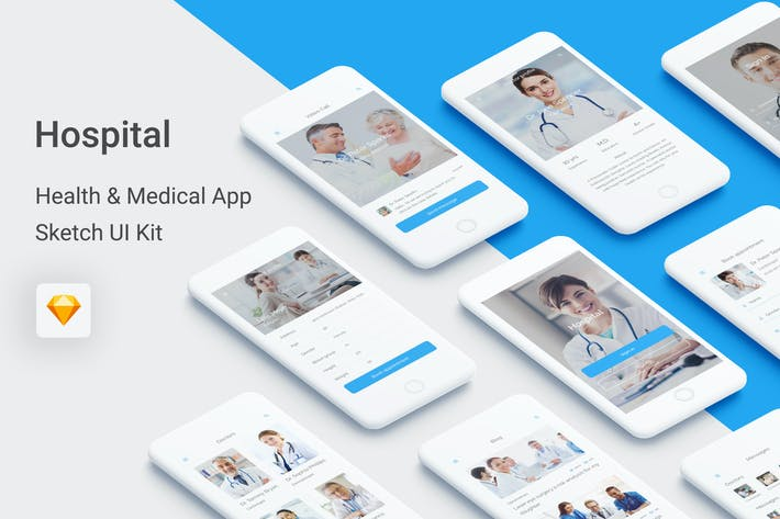 Thumbnail for Hospital - Health & Medical Mobile App for Sketch
