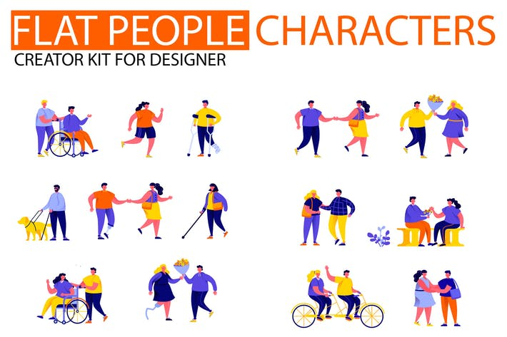 Thumbnail for Modern Flat People Character Creator Kit