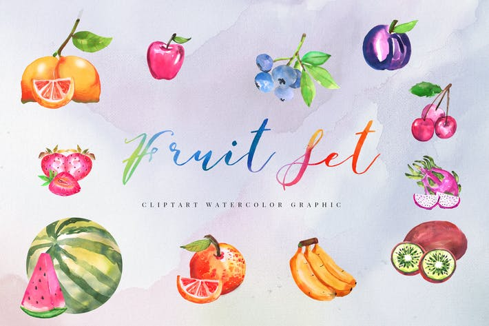 Thumbnail for 12 Watercolor Tropical Fruit Illustration