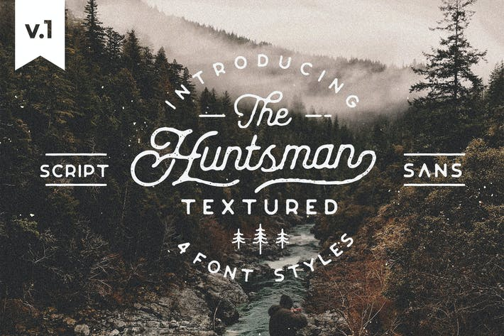 Thumbnail for Huntsman Script & Sans Typeface, Roughed Ver.1