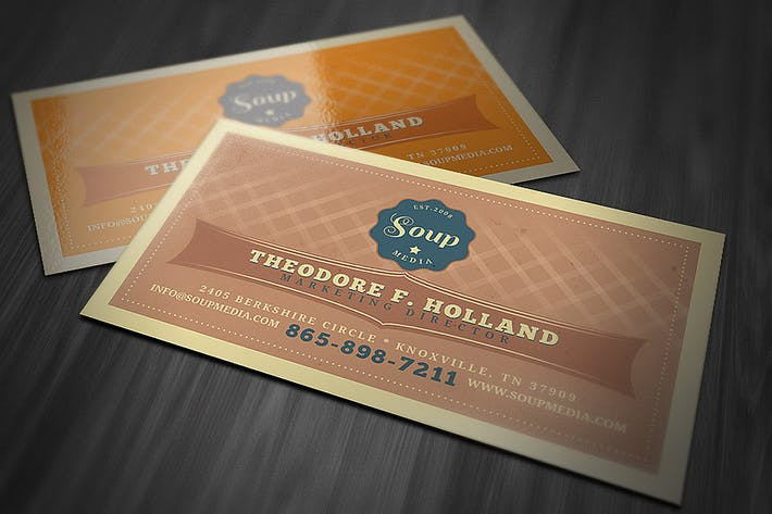 Retro Business Card Template By Cruzine On Envato Elements