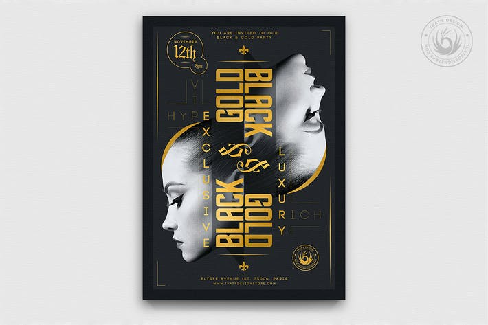 Thumbnail for Black and Gold Flyer Template V17