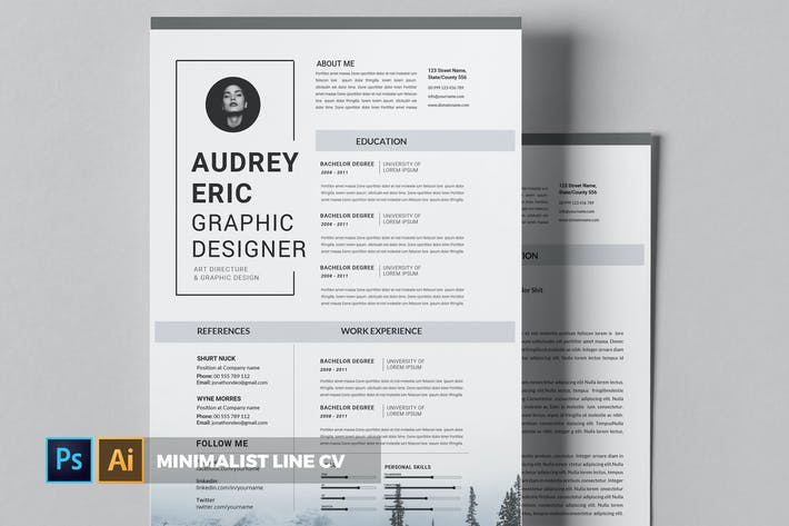 Thumbnail for Minimalist Line | CV & Resume