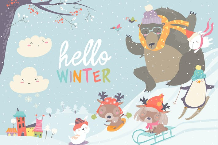 Cover Image For Vector illustration, cute animals playing winter