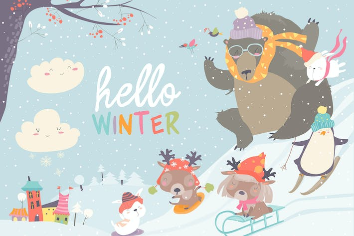 Thumbnail for Vector illustration, cute animals playing winter