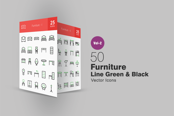 Thumbnail for 50 Furniture Line Green & Black Icons