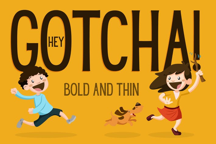 Thumbnail for Hey Gotcha! Font - Bold & Thin
