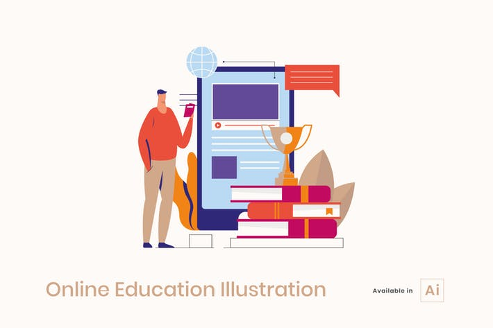 Thumbnail for Illustration de l'éducation en ligne