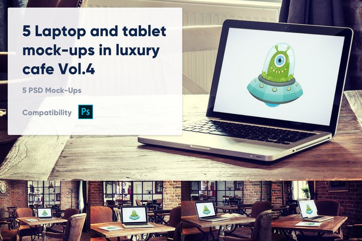 Thumbnail for 5 Laptop and tablet mock-ups in cafe Vol. 4