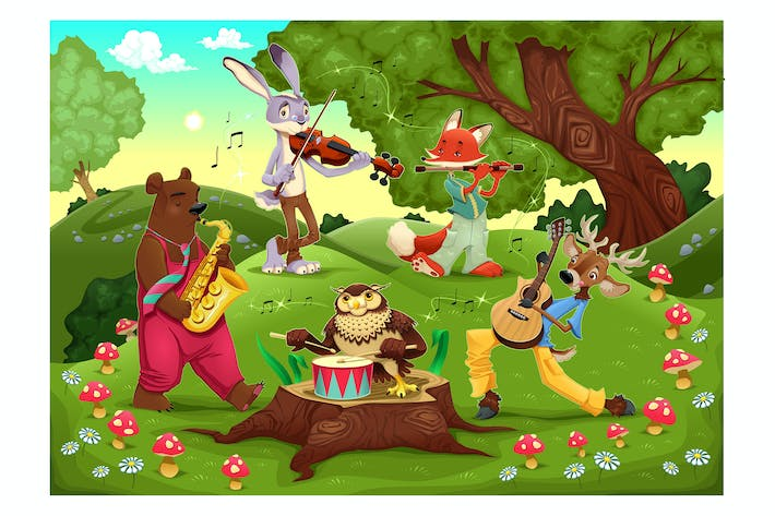 Thumbnail for Musicians animals in the wood.