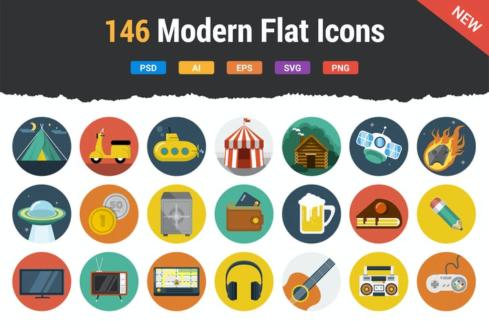 Thumbnail for 146 Modern Flat Icons