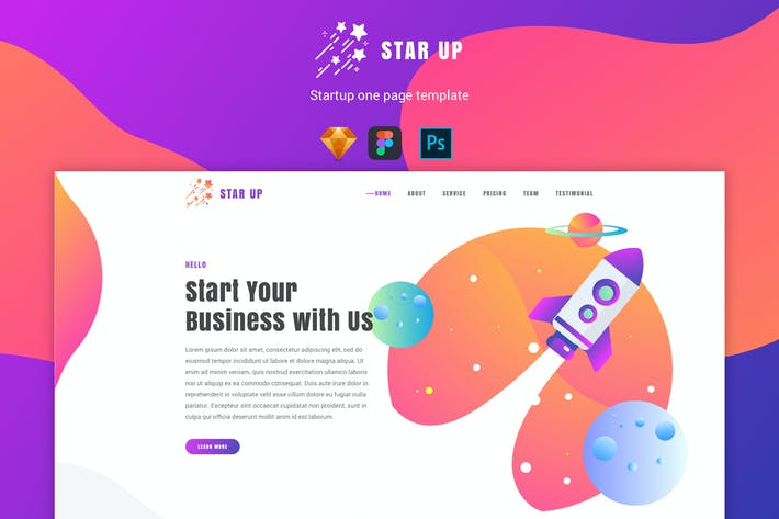 Cover Image For Star Up - One Page Template For Startup Company