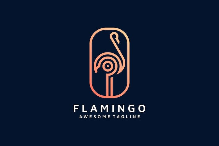 Thumbnail for FLAMINGO LINE ART LOGO TEMPLATE