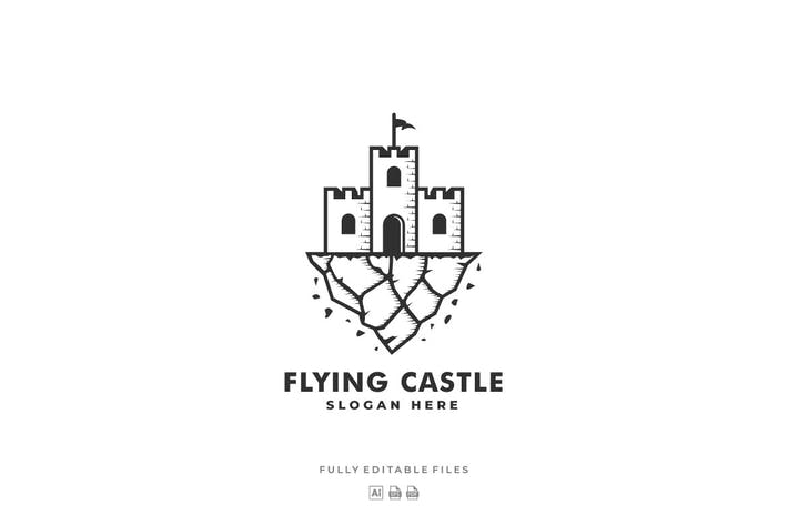 Cover Image For Flying Castle Line Art Style Logo Template
