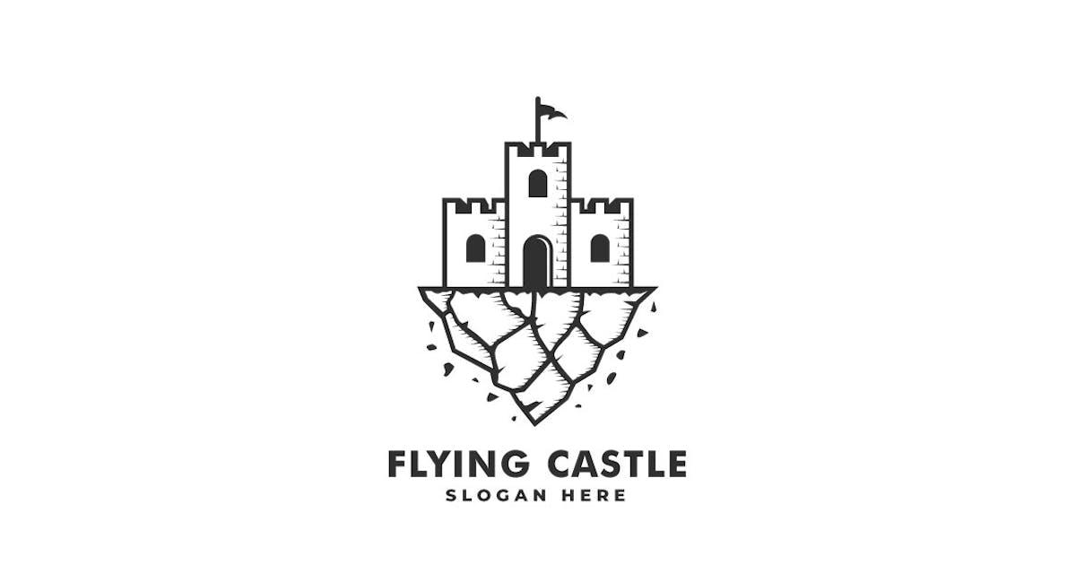 Download Flying Castle Line Art Style Logo Template by ivan_artnivora