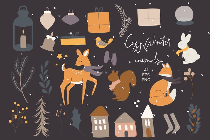 Cozy Winter Animals Clipart