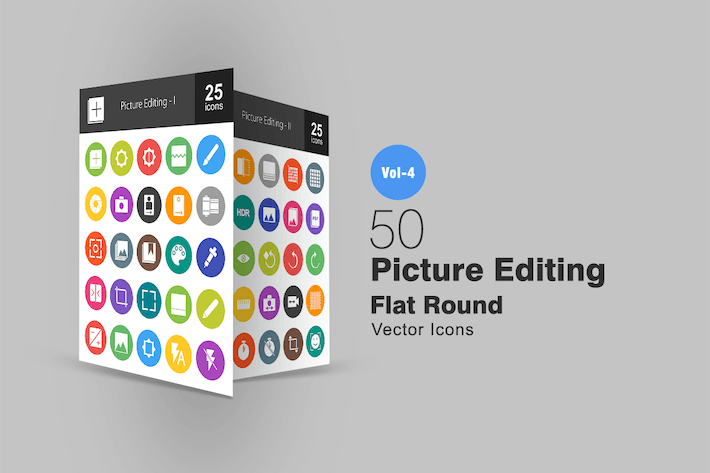 Thumbnail for 50 Picture Editing Flat Round Icons