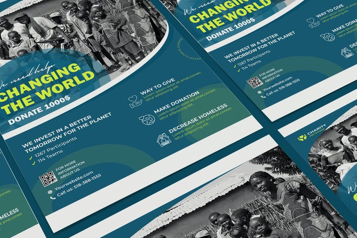 Thumbnail for Charité, ONG, Sans but lucratif Affiche PSD Modèle