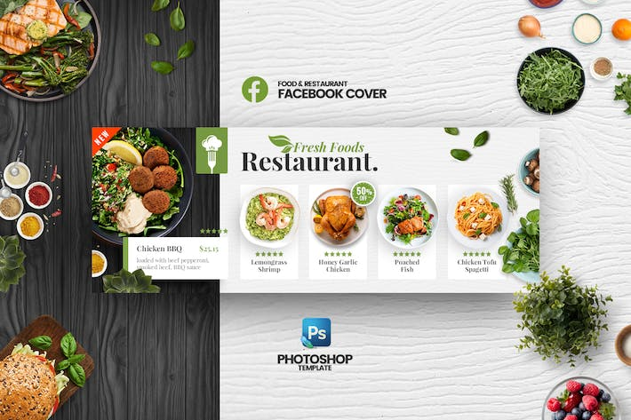Thumbnail for Fresh Food Restaurant Facebook Cover Template
