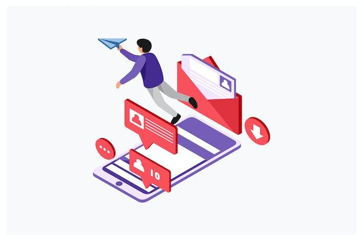 Thumbnail for Isometrische Online-Vektor illustration senden