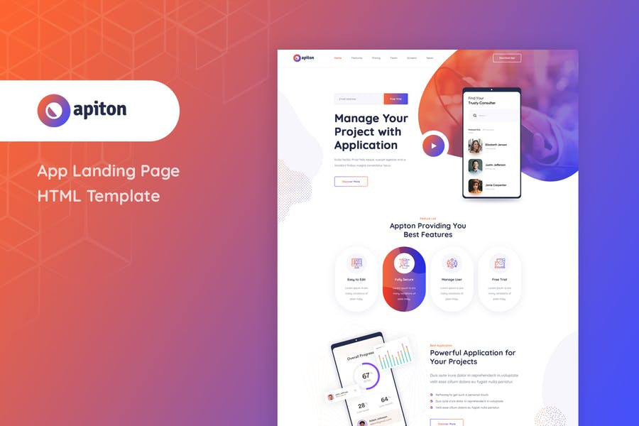 Apiton - App Landing Page HTML Template