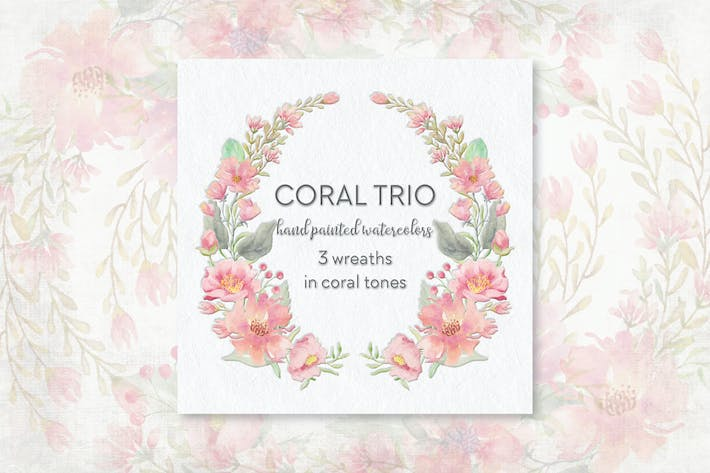 Thumbnail for Coral Trio: 3 Watercolor Wreaths