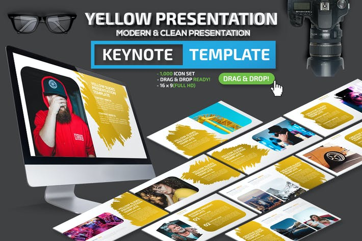 Thumbnail for Желтый Шаблон презентации Keynote