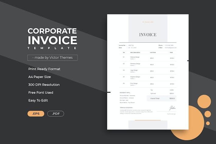 Thumbnail for Corporate Invoice Template