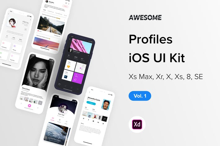 Thumbnail for Awesome iOS UI Kit - Profiles Vol. 1 (Adobe XD)