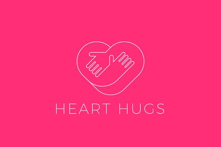 Heart Love Logo Hugging Hands Linear Outline style