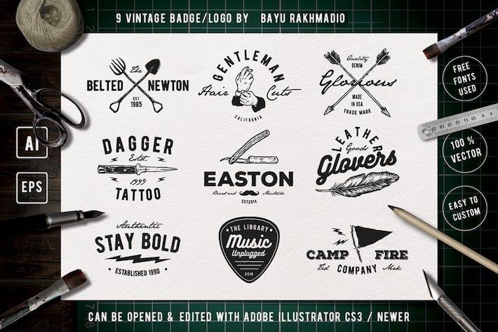 9 Vintage Badge Drawing