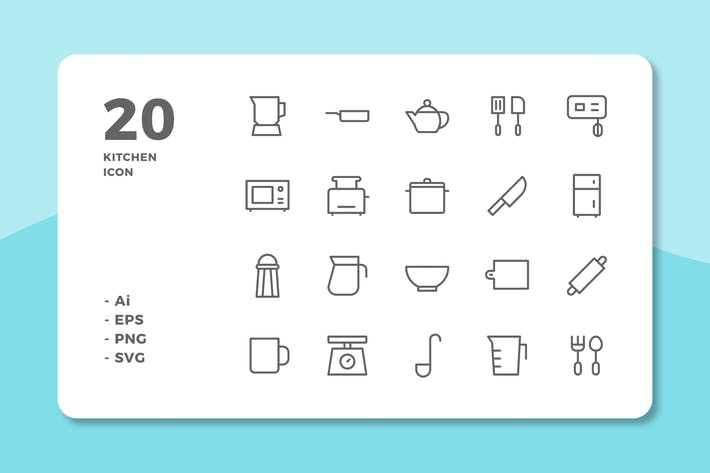 Cover Image For 20 Kitchen Icons (Line)