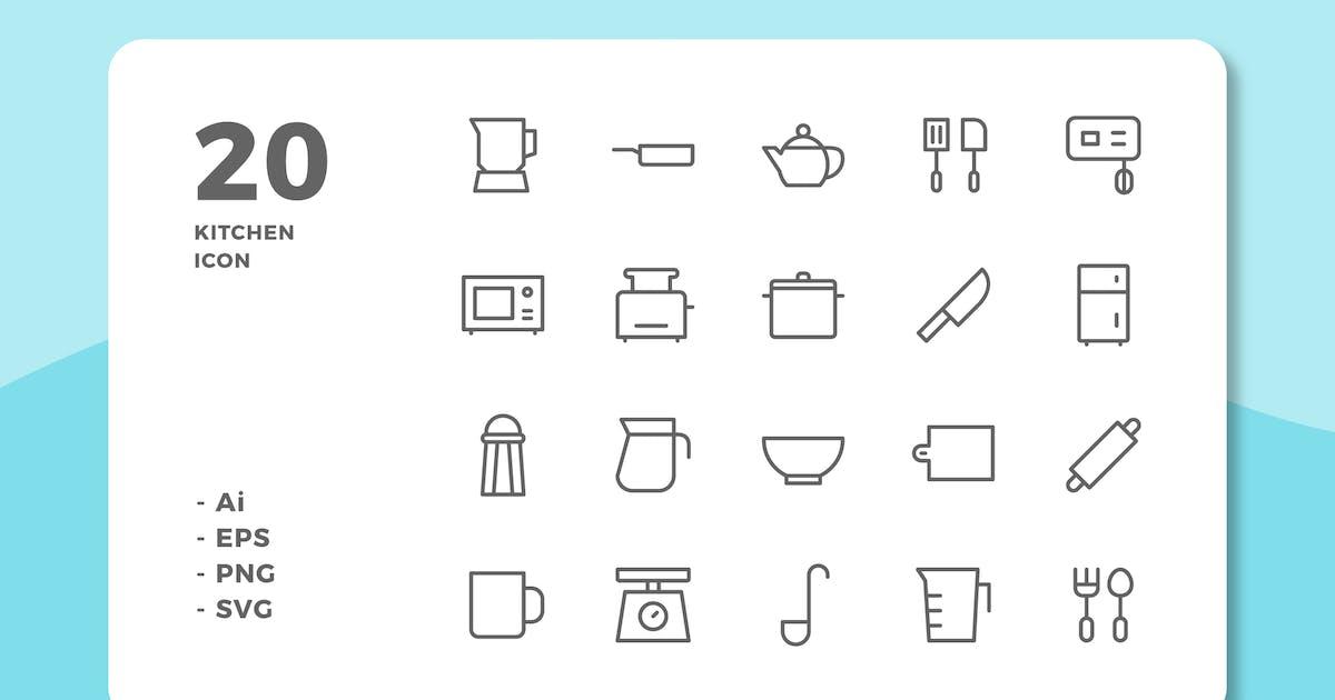 Download 20 Kitchen Icons (Line) by deemakdaksinas