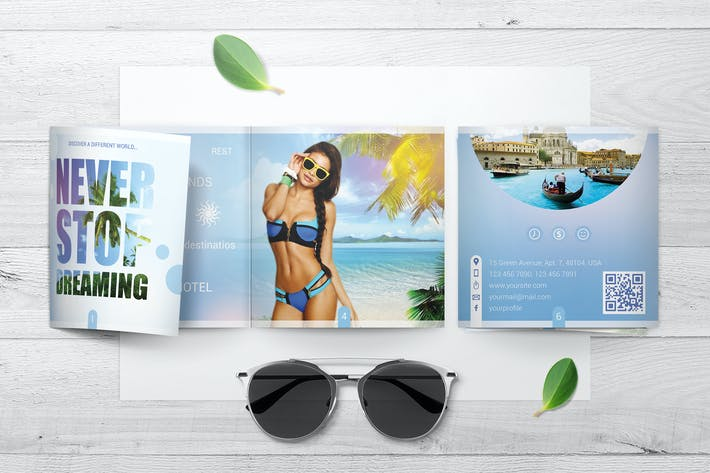 Thumbnail for Square Trifold Brochure Mockups