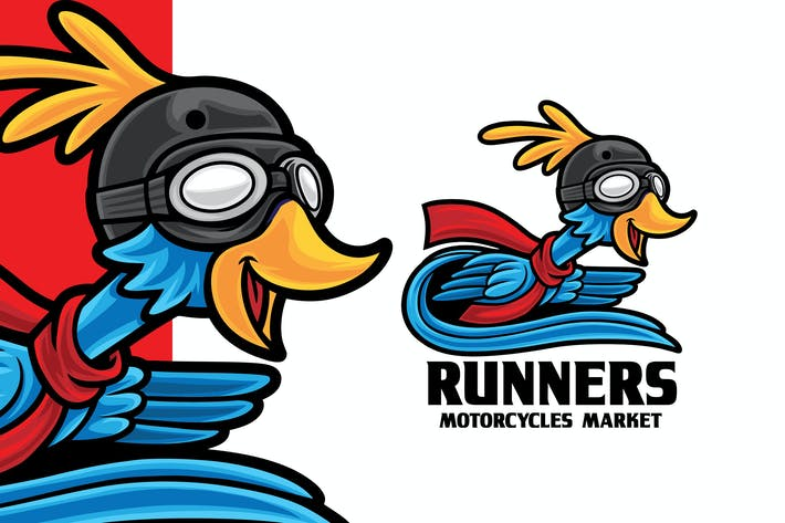 Thumbnail for Bird Runner Motorcycle Store Logo Mascot Template