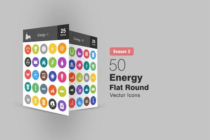 50 Energy Flat Round Icons Season II