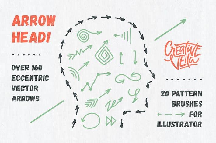 Thumbnail for Cabeza de flecha: Pinceles de patrón y flechas Vector