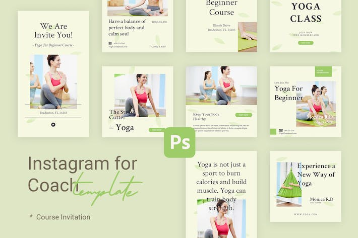 Thumbnail for Course - Instagram Templates for Coach & Yoga