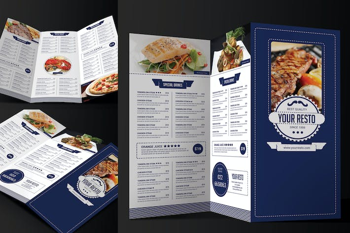 Cover Image For Minimalist Trifold Restaurant Menu