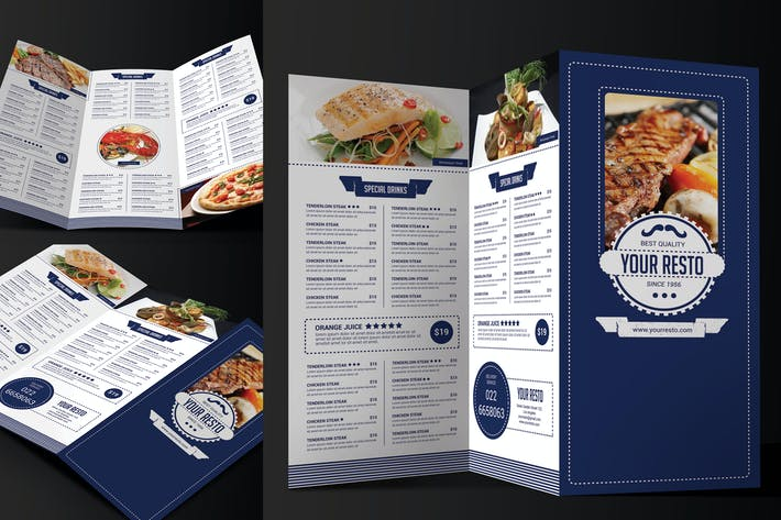 Thumbnail for Minimalist Trifold Restaurant Menu