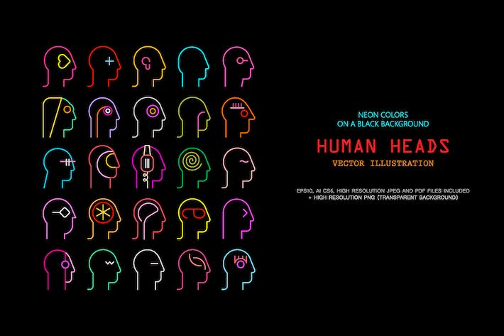 Cover Image For Human Head neon silhouettes vector illustration