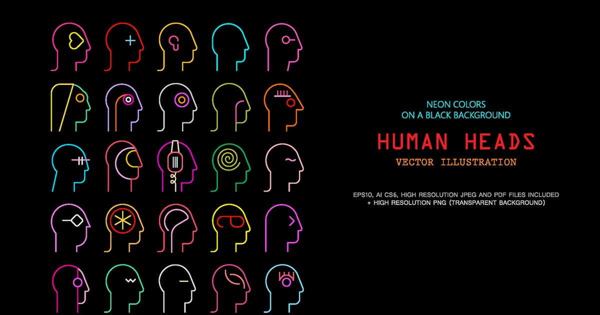 Download Human Head neon silhouettes vector illustration by danjazzia