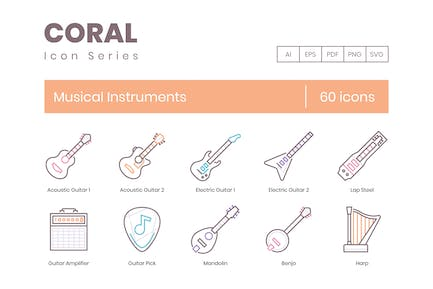 60 Musical Instruments Icons
