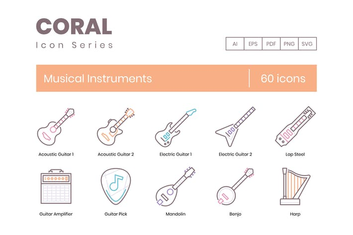 Thumbnail for 60 Musical Instruments Icons - Coral Series