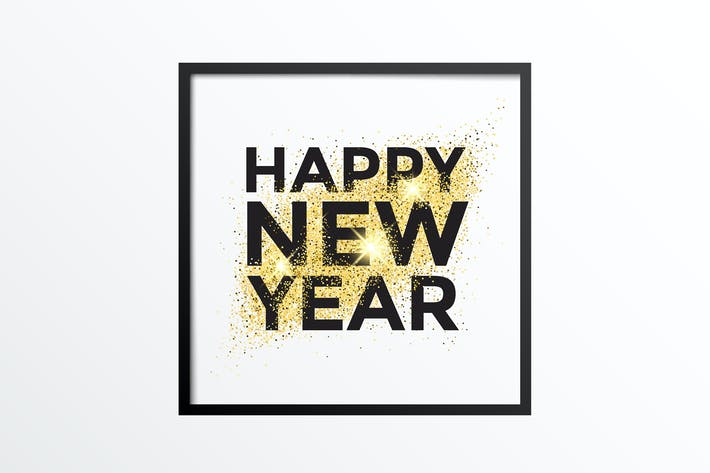 cover image for gold glitter new year greeting card