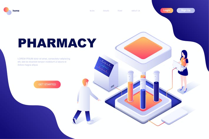 Thumbnail for Pharmacy Isometrische Zielseite Vorlage